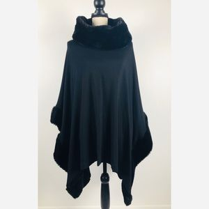Saks Fifth Avenue fur trimmed shawl / cape…